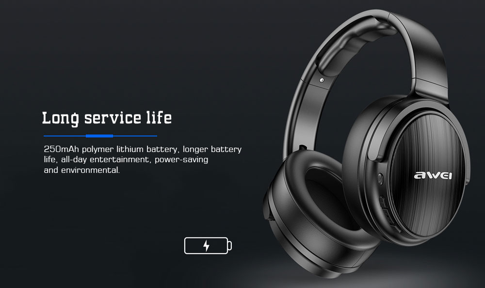 Awei A780BL Bluetooth 5.0 / 40mm Driver / Foldable Structure Headset- Gray