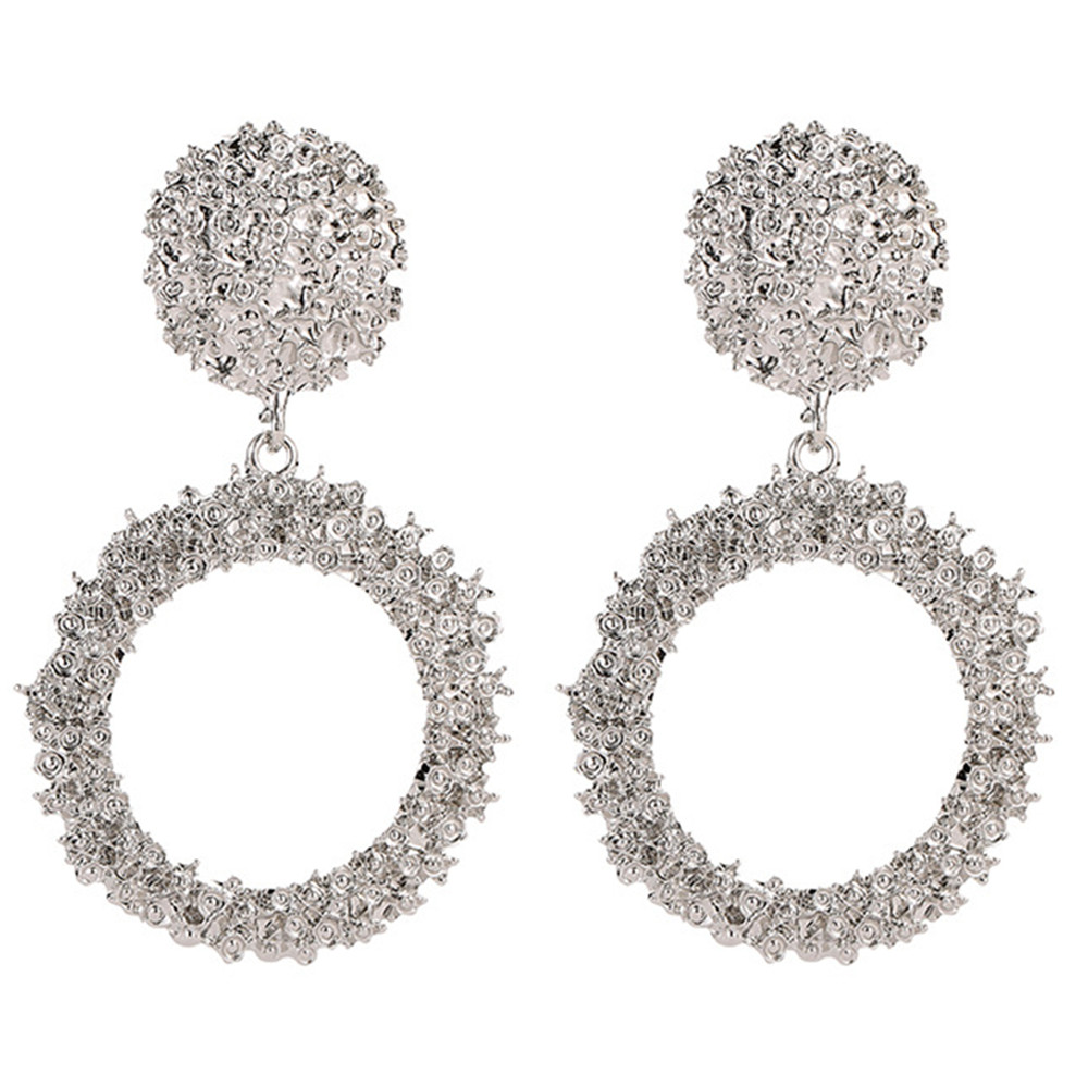 Great Circle Earrings with Retro-Style Metal Pattern - Silver US 10