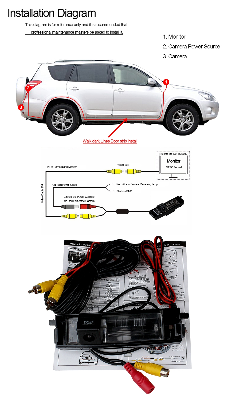 ZIQIAO Car Parking Rear View Camera for Chery Tiggo / Toyota RAV4 2000 on