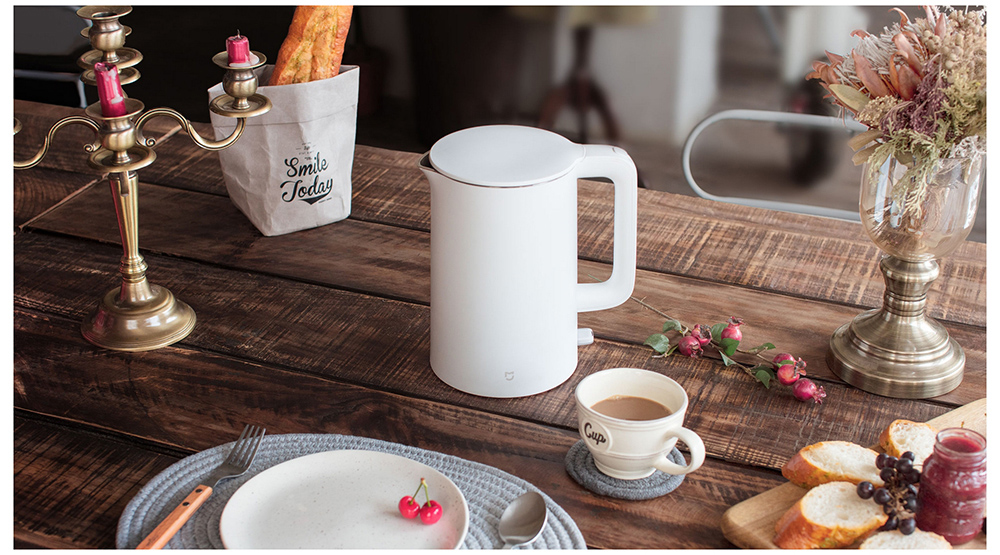 1.5L Electric Water Kettle Auto Power-Off Protection Smart Water Boiler - White