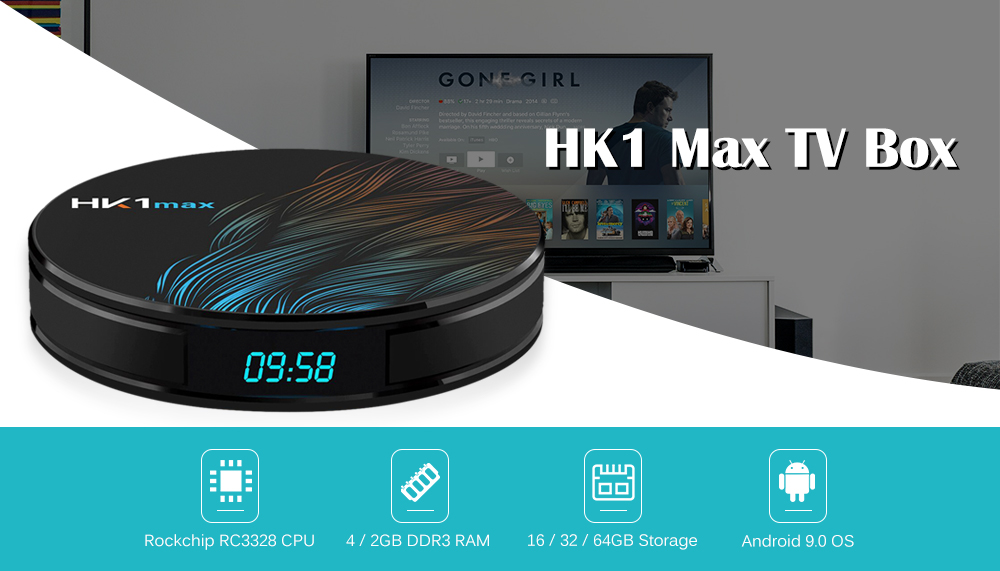 HK1 Max TV Box Andorid 9.0 RK3328 / Android 9.0 / 2.4G 5G WiFi / USB 3.0 / BT 4.0 / 4K VP9- Black  4GB RAM +32GB ROM US Plug