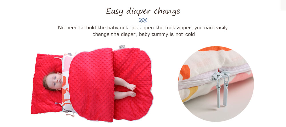 Insular SU4002 - 2 3D Massage Ball / Easy Diaper Change / Multifunctional Windproof Cap / Washable Material Baby Sleeping Bag - Gray Cloud