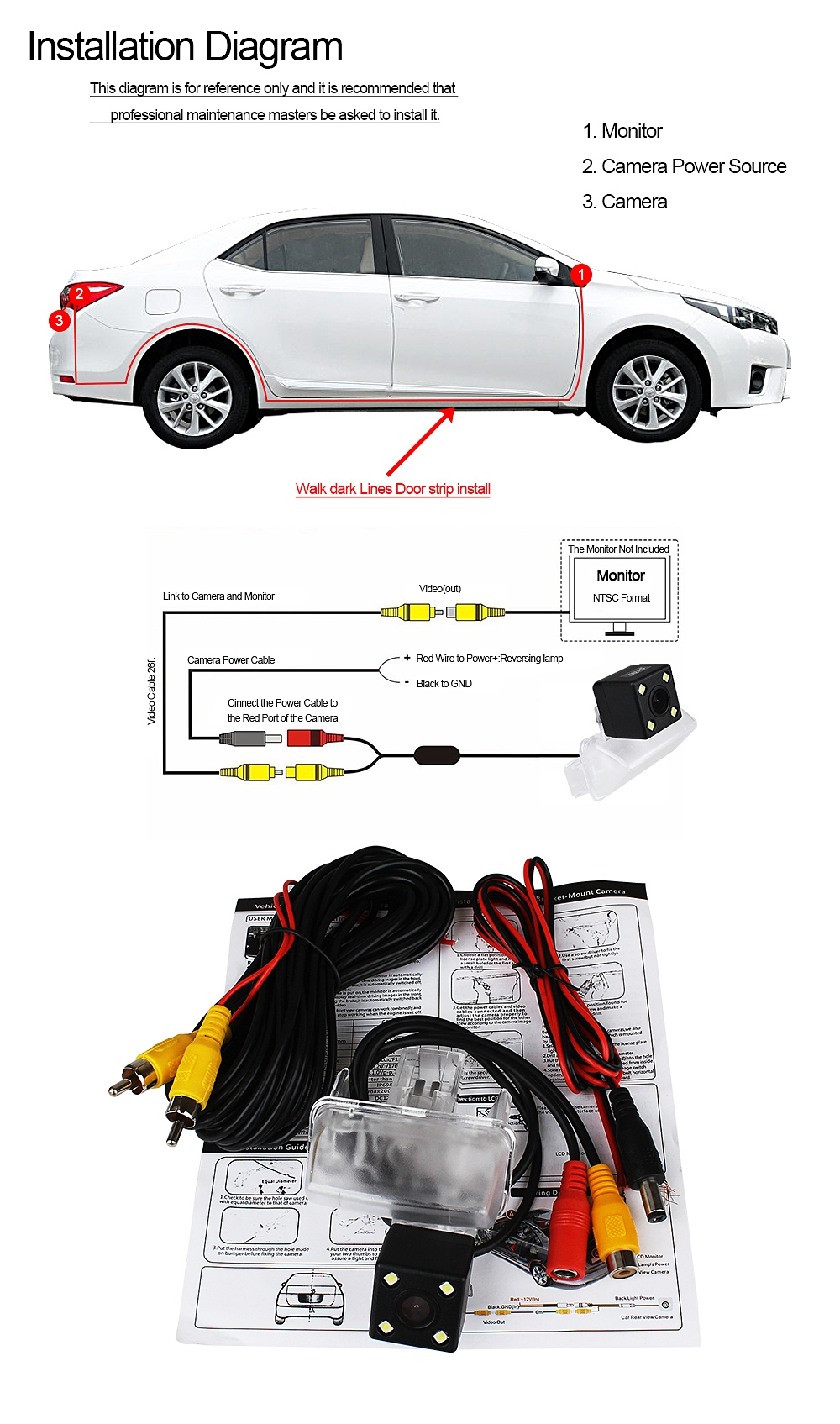 ZIQIAO 4 LED Lights Night Vision Car Rear View Camera for Toyota Corolla  2014