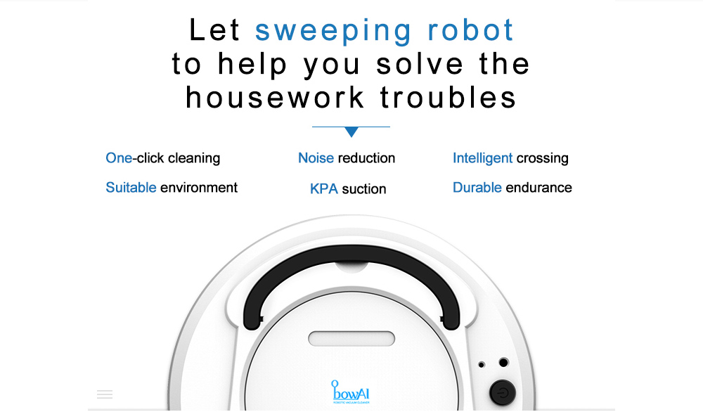bowAI 1800PA Smart Auto Robot Vacuum Cleaner 3 In 1 Electric Rechargeable Wet And Dry Mop Sweeping
