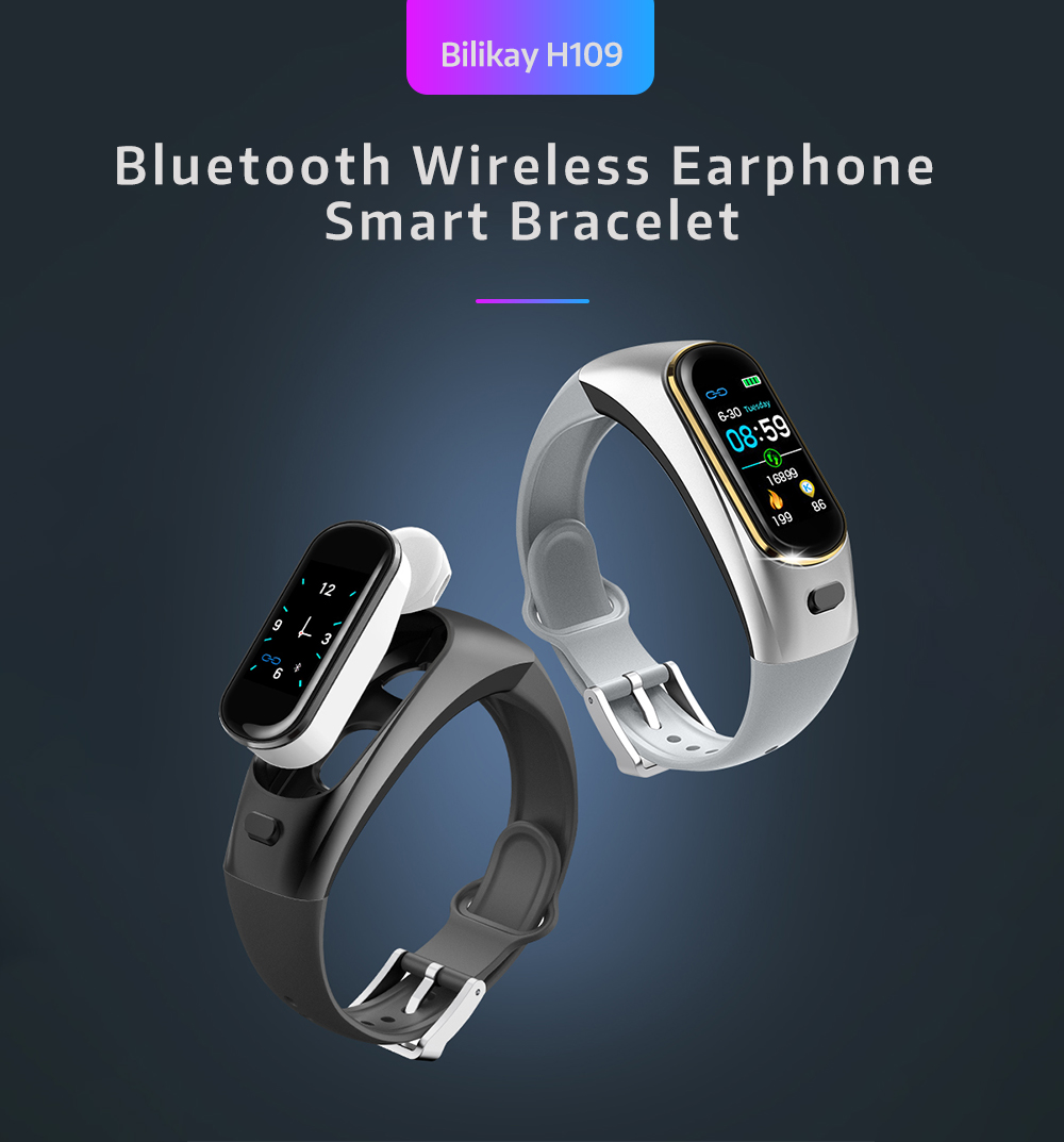 Bilikay H109 Bluetooth Wireless Casque-audio Smart Bracelet Black