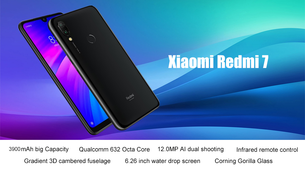 Xiaomi Redmi 7 4G Phablet 6.26 inch Android 9.0 Qualcomm Snapdragon 632 Octa Core 1.8GHz 3GB RAM 64GB ROM 8.0MP Front Camera Fingerprint Sensor 3900mAh Built-in- Blue