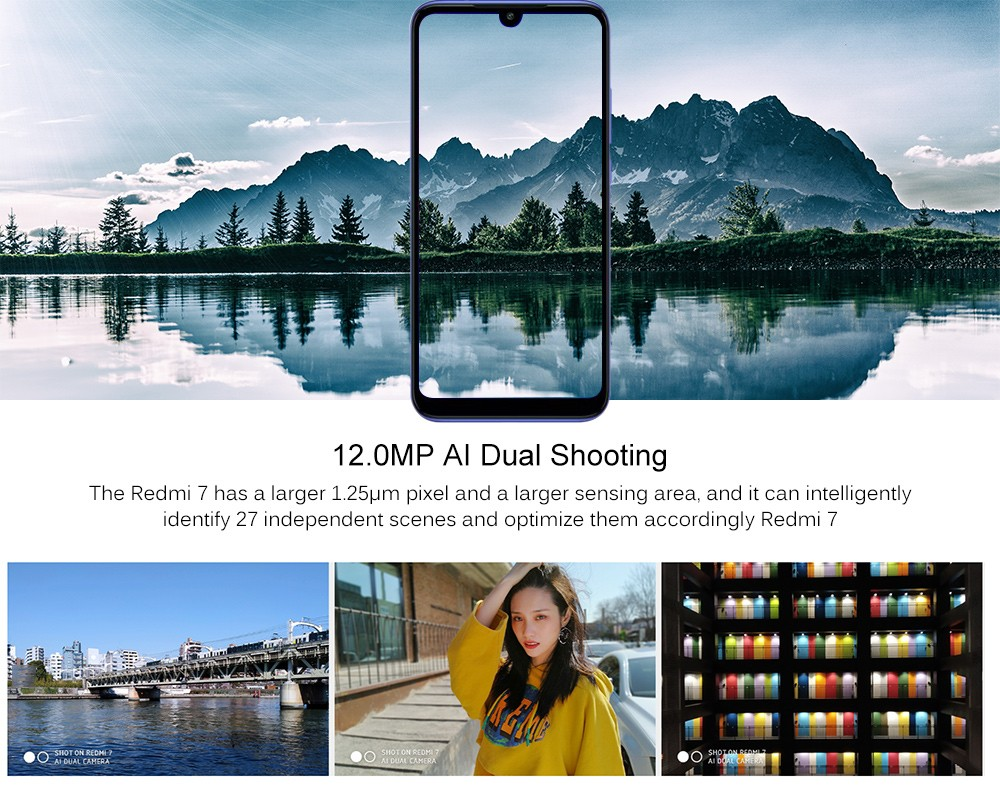 Xiaomi Redmi 7 4G Phablet 6.26 inch Android 9.0 Qualcomm Snapdragon 632 Octa Core 1.8GHz 3GB RAM 64GB ROM 8.0MP Front Camera Fingerprint Sensor 3900mAh Built-in- Black