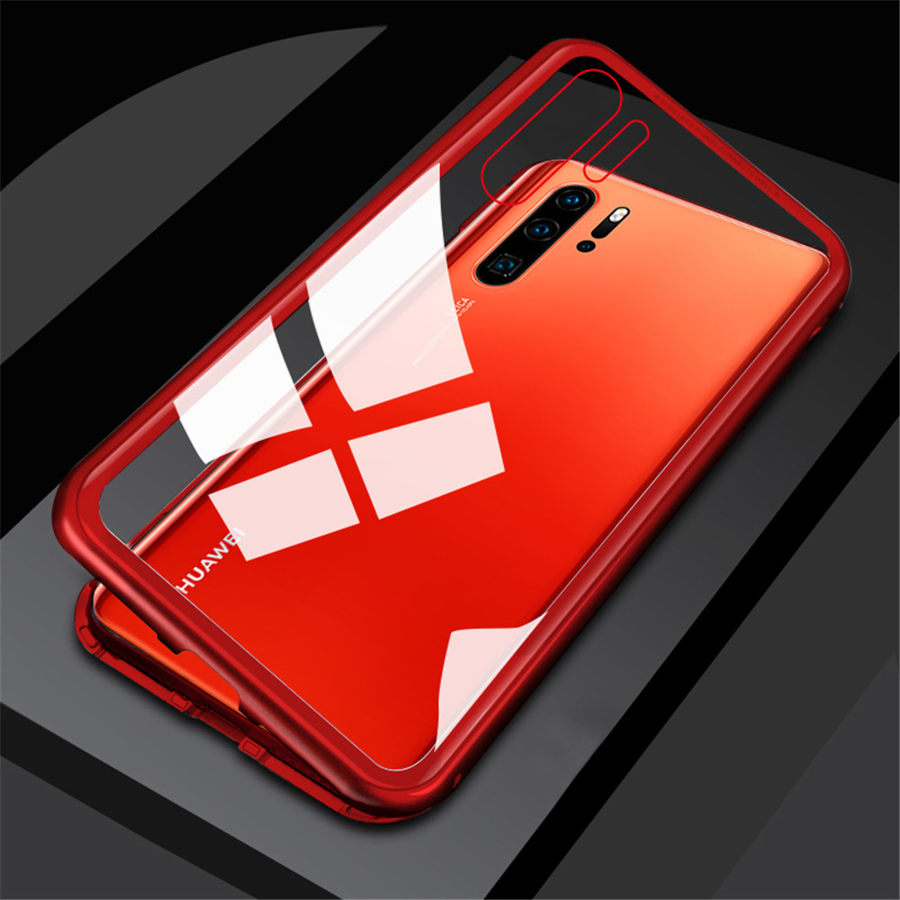 Magnetic Metal Tempered Glass Flip Case for Huawei P30 Pro- Silver