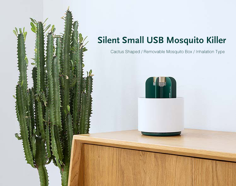 Silent Environmentally Friendly Small USB Cactus Shaped Mosquito Killer- Milk White