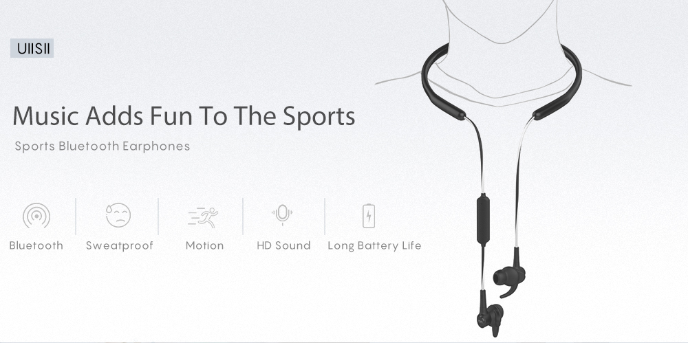 UIISII BT710 Sports Bluetooth Earphones- White