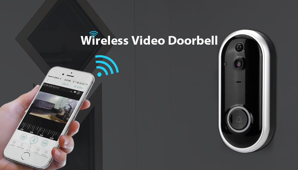Stalwall L12 Rechargeable Battery Wi-Fi Intercom Wireless Video Doorbell- Black