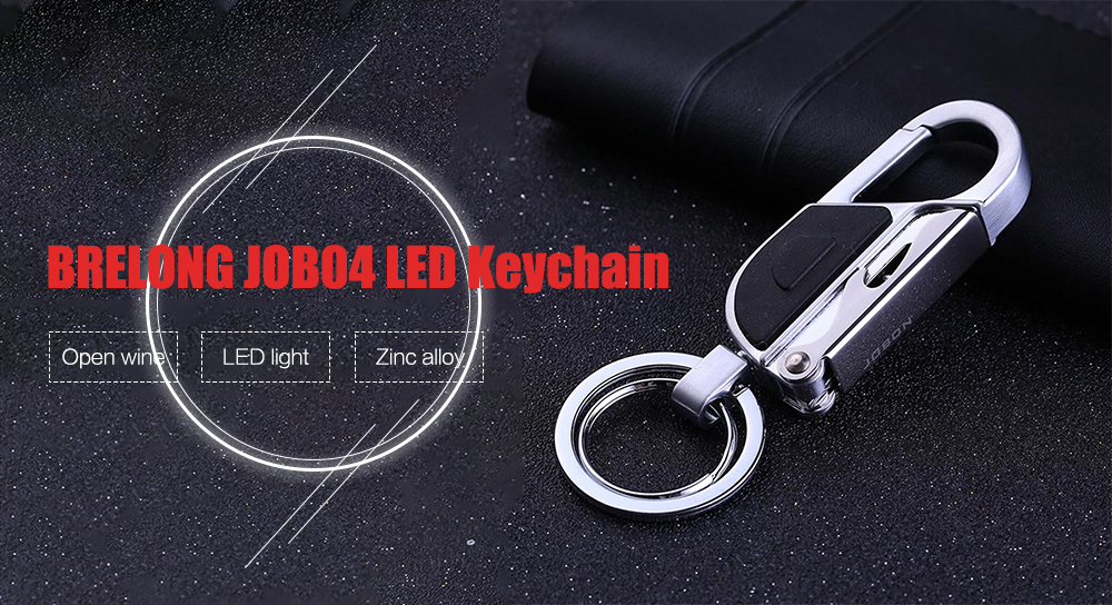 BRELONG JOB04 LED Keychain Creative Wine Opener Flashlight - Gold