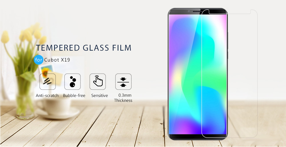 Naxtop Tempered Glass Film 2.5D Screen Protector for Cubot X19- Transparent