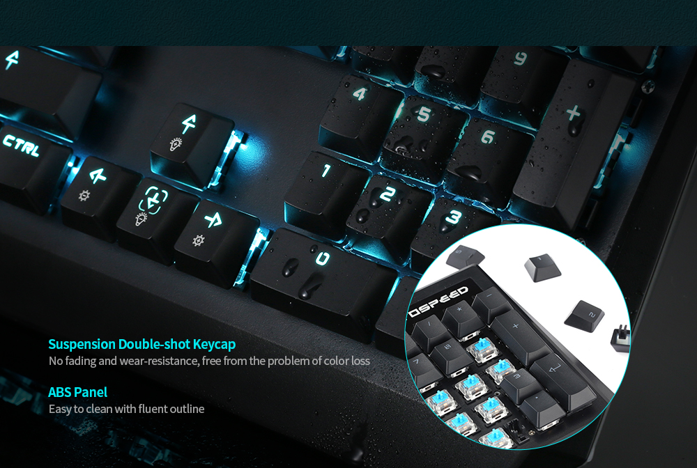 Motospeed CK95 Mechanical Game Wired Keyboard 104 Keys Blue Backlit Support English / Russian- Black Blue Switch