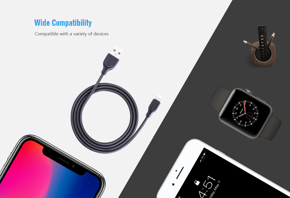 Joyroom S - L352 Fast Charge Data Cable for Android / iPhone / Type-C 1m- Black Micro