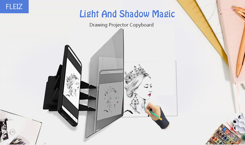 FLEIZ Mobile Tablet Drawing Projector Copyboard Facsimile Panel Light Transparent Mirror Writing Plate- Transparent