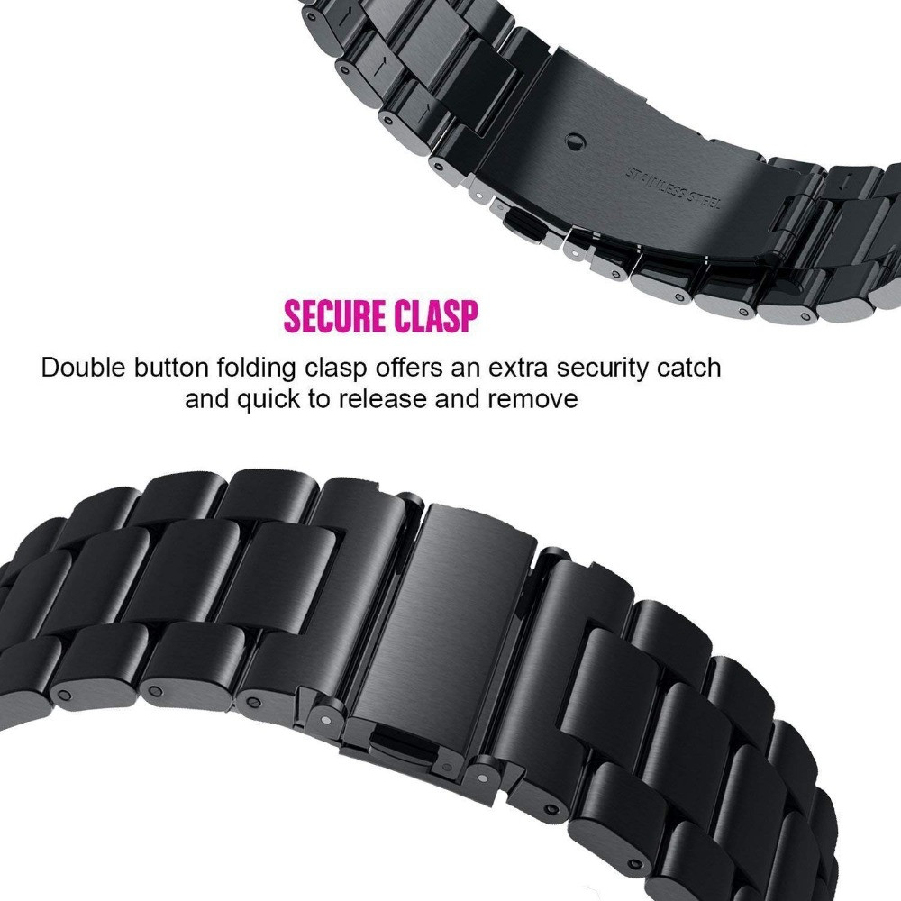 Stainless Steel Watch Band Strap for Samsung Galaxy Watch Active 40MM SM-R500- Black