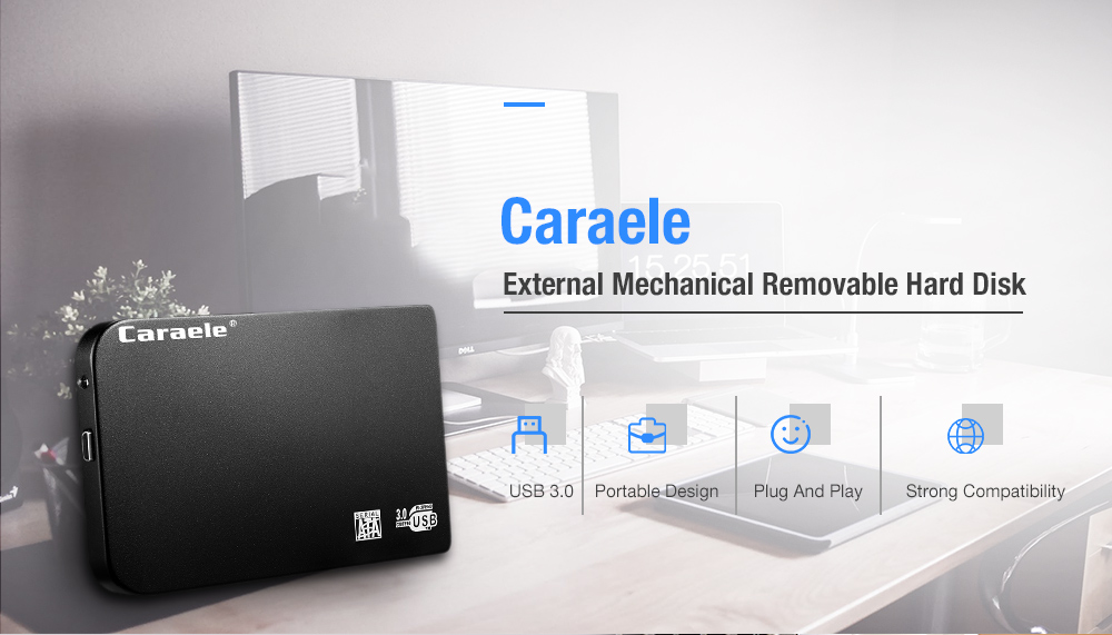 Caraele H - 6 USB3.0 Portable External Mechanical Mobile Hard Drive- Black 1TB