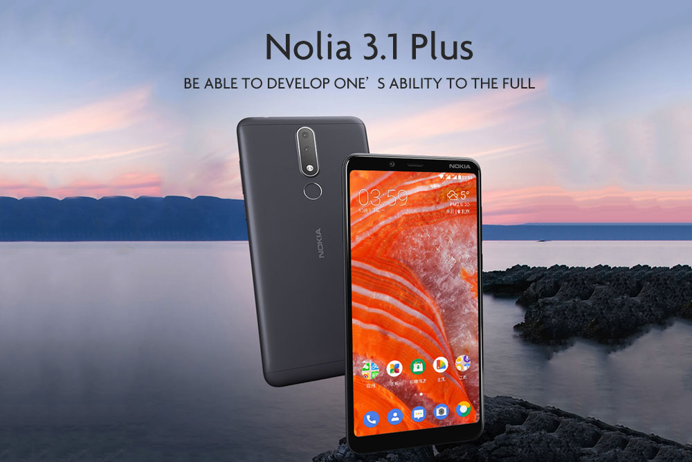 Nokia 3.1 Plus 4G Phablet 6.0 inch Android 8.1 MTK 6762 ( Helio P22 ) Octa Core 2.0GHz 3GB RAM 32GB ROM 13.0MP + 5.0MP Rear Camera Fingerprint Sensor 3500mAh Built-in - Blue