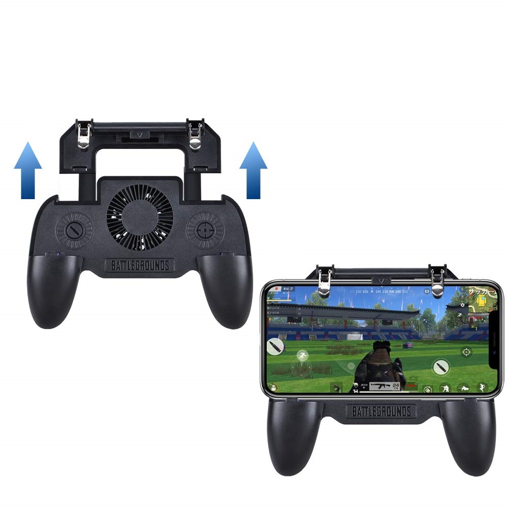 Mobile Game Cooling Fan with 4000mAh Battery Trigger Fire Button L1R1 Controller- Jet Black
