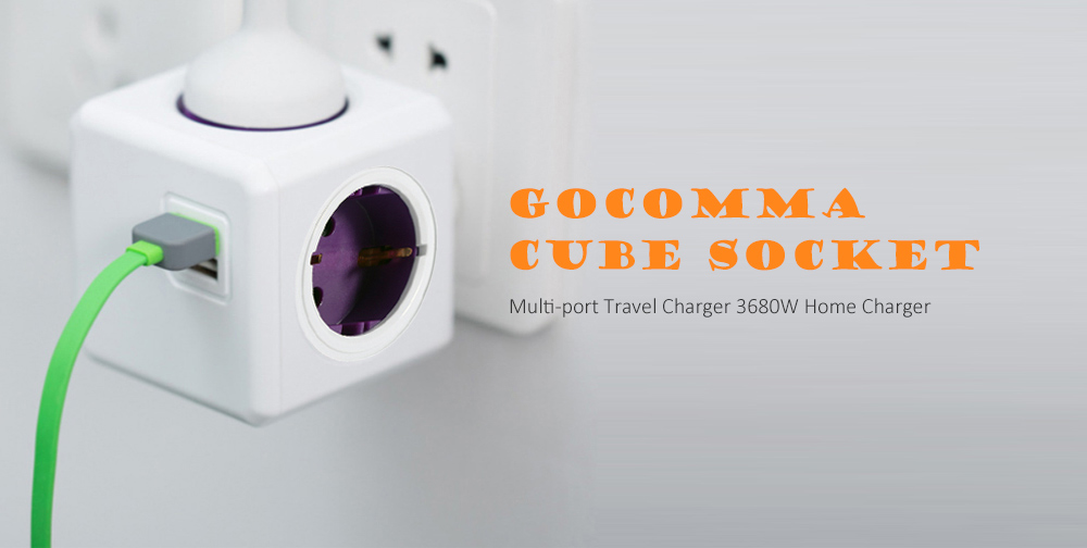 GOCOMMA 1100 Cube Socket 5 EU Plug Multi-port Travel Charger 3680W Home Charger- Green
