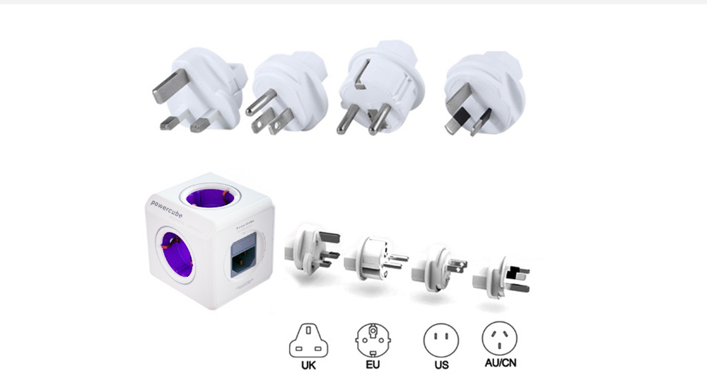 Gocomma 1810 Cube Socket Multi-port Travel Charger 2300W International Charger- Purple