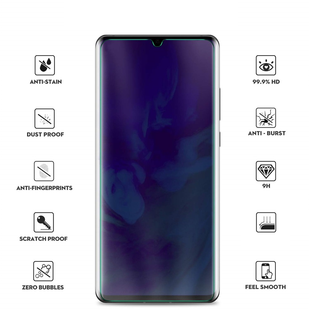 3D 0.26mm 9H Curved Full Screen Tempered Glass for Huawei P30 Pro- Transparent
