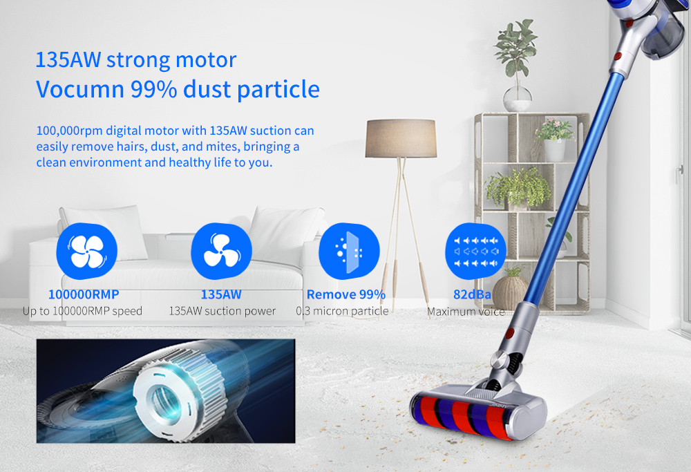 JIMMY JV83 Digital Motor / Car Home 2-in-1 / Strong Power / Big Suction Wireless Vacuum Cleaner- Ocean Blue
