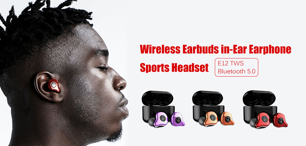 Sabbat E12 TWS Bluetooth Headset 5.0 Binaural Stereo In-ear Mini Wireless Earbuds with Charging Compartment- Cadetblue