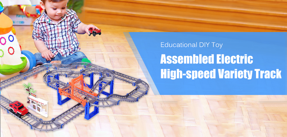 Assembled Electric High-speed Variety Track Car Educational DIY Toy- Gray