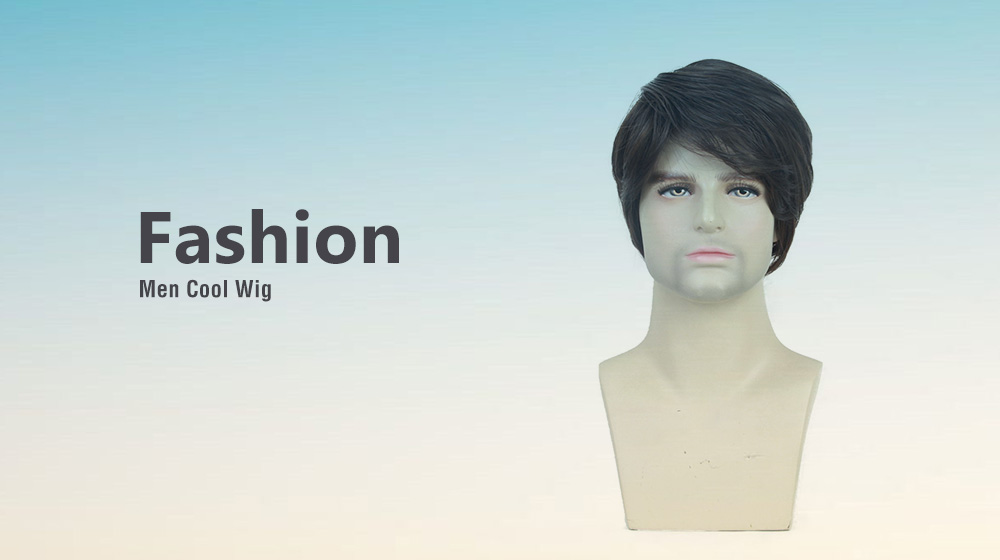 MAGICGIRL 1943 - SS137 Men High-temperature Silk Fiber Partial Oblique Bangs Short Curly Hair Wig- Brown