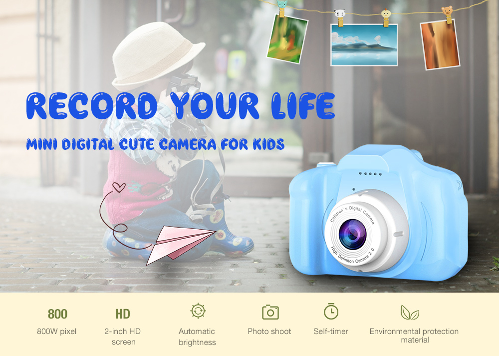 Mini Digital Cute Camera for Kids High Definition- Light Sky Blue No memory card