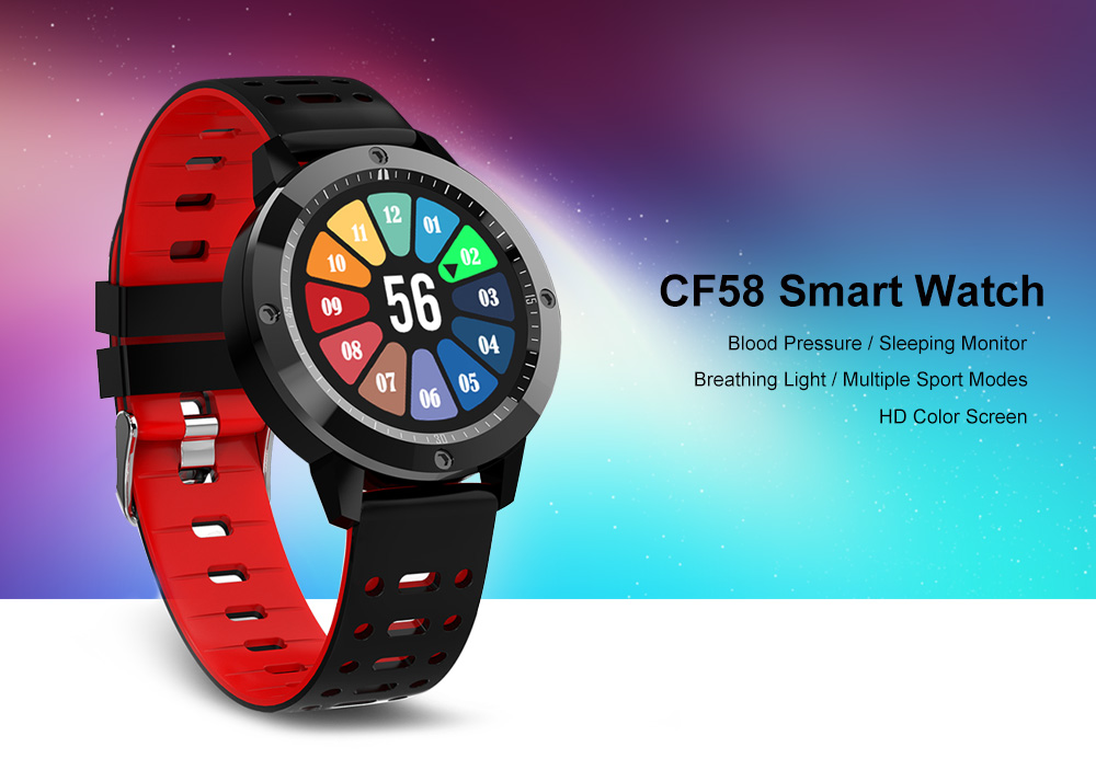 CF58 HD Color Screen / Breathing Light / Multiple Sport Modes / Blood Pressure / Sleeping Monitor Smart Watch- Black