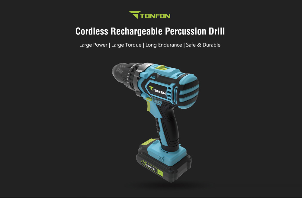 TONFON Cordless Rechargeable Percussion Drill 20V from Xiaomi youpin- Blue Koi