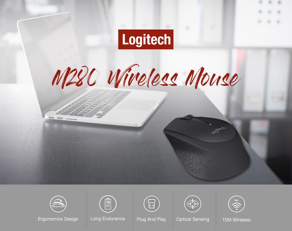 Logitech M280 Wireless Mouse Support Office Test with USB Nano Receiver 1000dpi for Windows Mac OS- Black