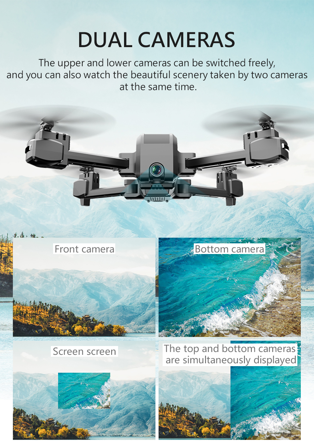KF607 Quadcopter Optical Flow Pressure Altitude Hold WiFi Wide-angle Electric Adjustment Camera- Black 1080P Camera 2 Batteries