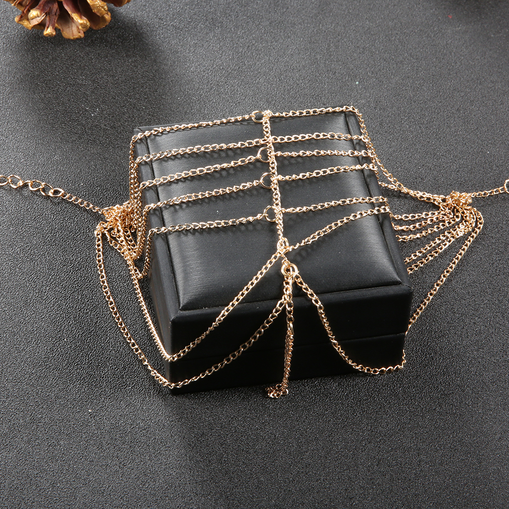 Trend Multi-Layer Chain Footwear Beach Resort with Finger Anklet- Gold 1pc