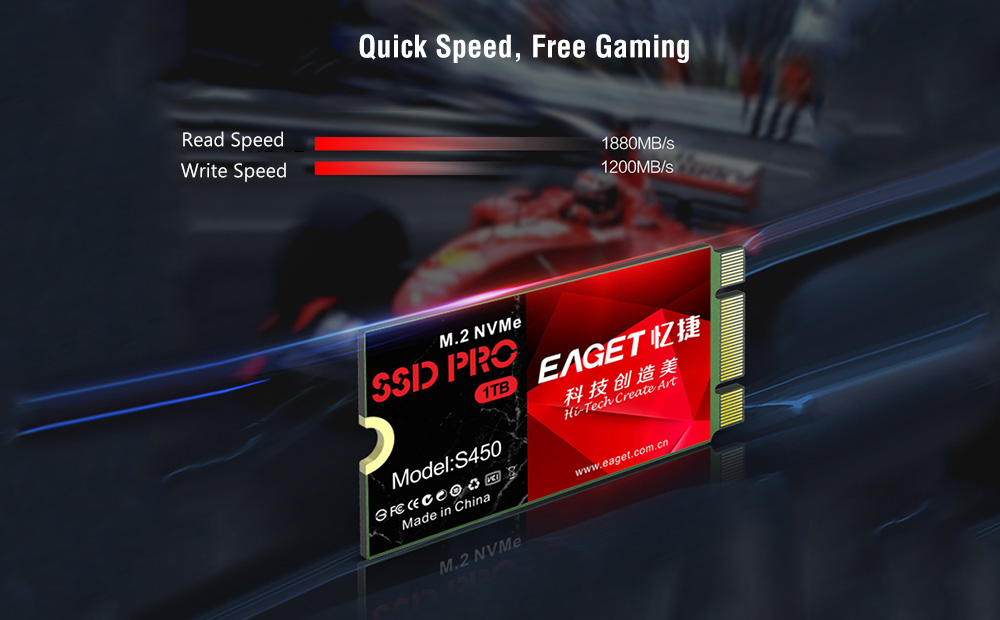 EAGET S450 M.2 NVME SSD 2242 PCIE Solid State Drive - Red 128GB