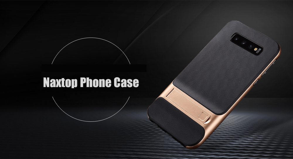 Naxtop 2-in-1 Soft TPU Hard PC Phone Case with Bracket for Samsung S10 / S10e / S10+ / S10 Plus- Black for Samsung Galaxy S10