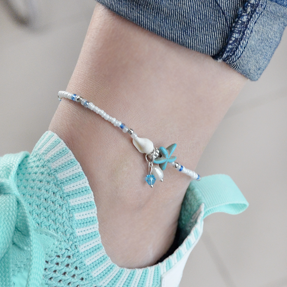 White Beads Chain With Starfish Anklets- White