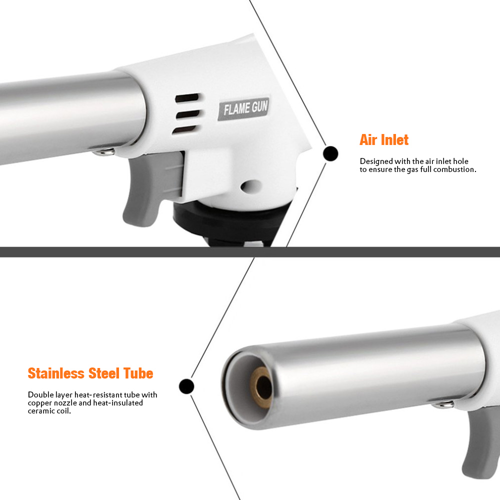 Fully Automatic Electronic Flame Gun 1350 Deg.C Portable Outdoor Igniter Equipment- Cool White