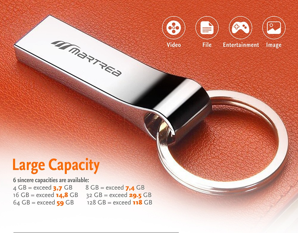Martrea Metal USB Flash Drive High Speed Authentic Chip 4 - 128G- Silver 4G