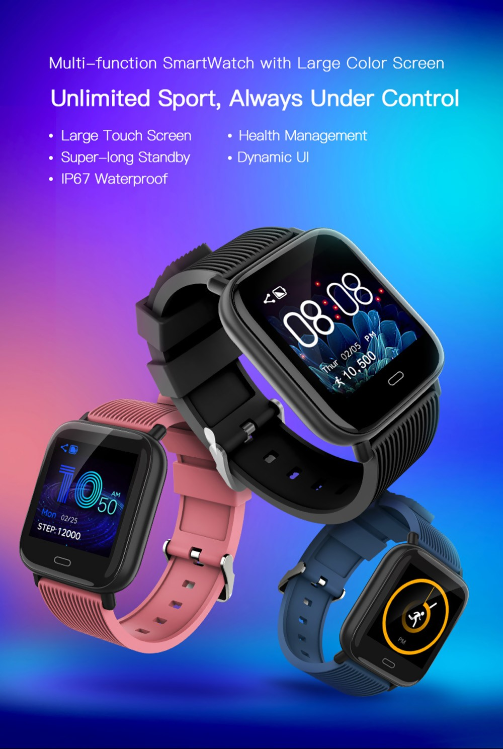 Bilikay G20 Multi-function Large Color Screen Bluetooth 5.0 Smart Sports Watch- Black