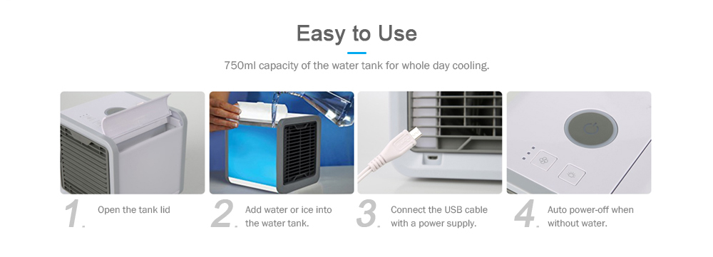 Household USB Mini Portable Air Conditioner- White