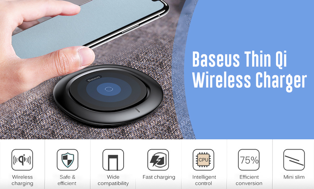 Baseus BSWC 07 Fast Charge Wireless Charger Black