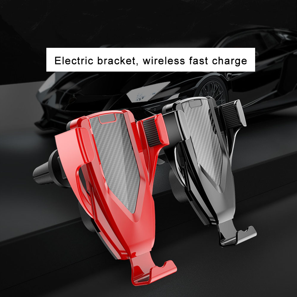 M8 Smart Induction Car Phone Holder Wireless Charger- Red