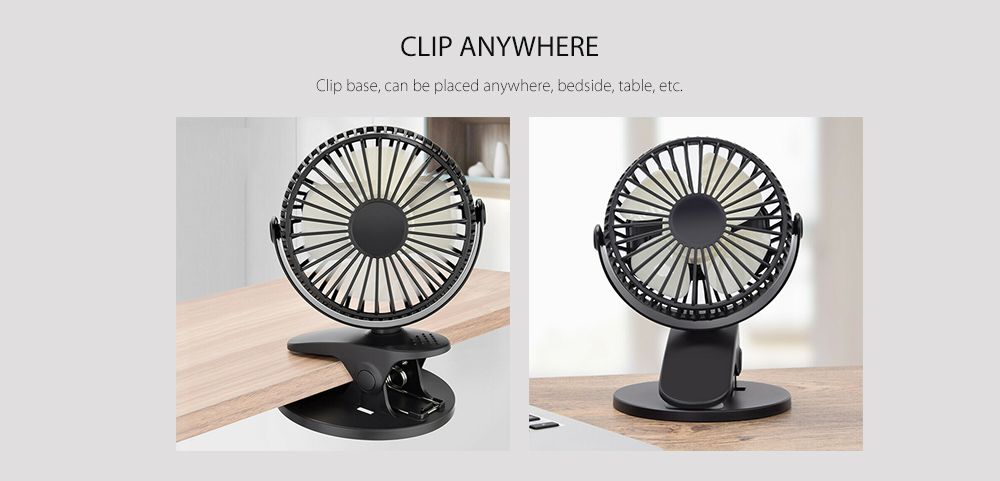 Creative Desktop Mini USB 360 Degree Rotating Clip-on Fan- Milk White