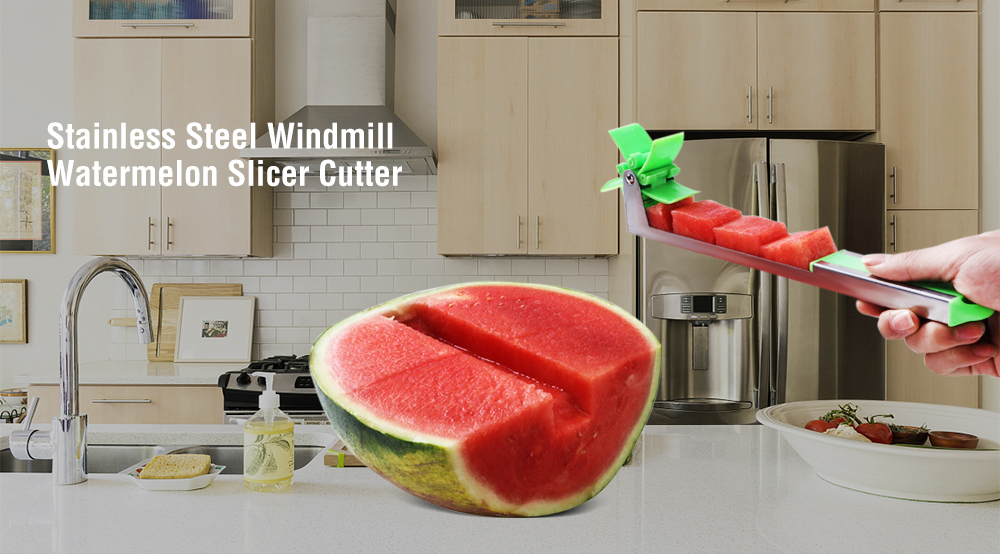 Windmill Watermelon Cutter 304 Stainless Steel Slicer Cut Block Multi-tool- Algae Green