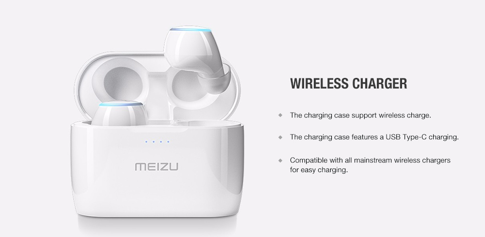 MEIZU POP 2 True Wireless Bluetooth Earbud with Charging Case- White
