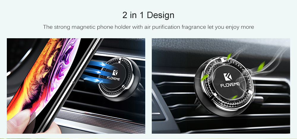 FLOVEME Aromatic Strong Magnetic Car Phone Holder- Black